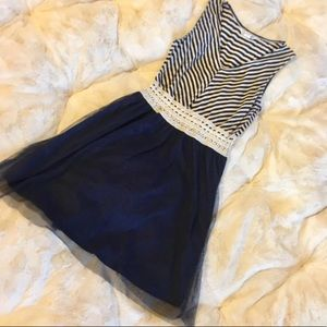 Striped Tulle Fit & Flare Dress